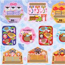 new year items small happy new year scratch stickers with fans items