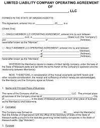 free massachusetts llc operating agreement template pdf word