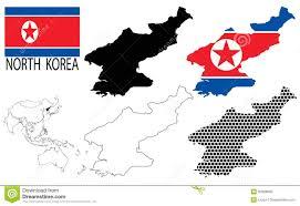 Korea Map Asia by South Korea Contour Maps National Flag And Asia Map Vector