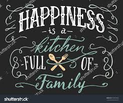Home Decor Family Signs Happiness Kitchen Full Family Hand Lettering Stock Vector