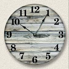 Home Decor Clocks Amazon Com Rustic Wall Clock Weathered Boards Image Beach Sand