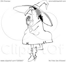 outline clipart of a cartoon black and white halloween witch doing