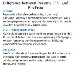 Best Objective For A Resume by Cool Difference Between Bio Data Resume And Cv 87 With Additional
