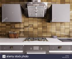 modern kitchen stove modern kitchen with gas stove and hood interior 3d stock photo