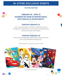 disney store 30th anniversary disney store in store exclusive events you re invited february 20 april 12