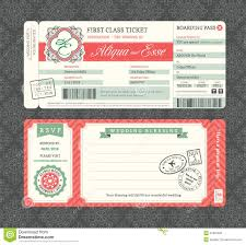 vintage boarding pass wedding invitation template stock vector