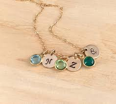 birthstones necklace for mothers birthstone necklace sterling silver initial charm