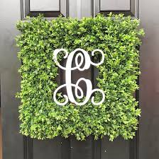 artificial boxwood wreath custom painted monogram artificial boxwood wreath square or