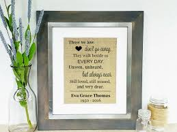 Condolence Gifts Personalized Memorial Burlap Print In Memory Sign Sympathy