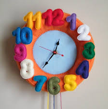 colorful felt wall clock could make this with velcro numbers