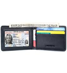 Money Clip Wallet Id Window Mens Leather Wallet Slim Front Pocket Wallet Billfold Id Window