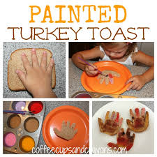 toddler approved painted turkey toast via coffee cups and crayons
