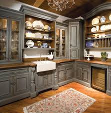 image of grey rustic kitchen cabinets counter cabinet