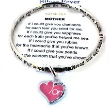 mothers day bracelet s heart charm infinity silver bangle engraved poem bracelet
