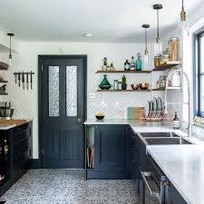 narrow kitchen before and after from narrow space to stylish kitchen in dark blue