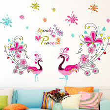 online get cheap peacock wall stickers aliexpress com alibaba group peacock color animal wall stickers baby room children s room bedroom living room sofa tv wall decoration stickers windowsill