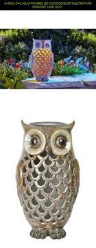 garden owl solar powered led outdoor decor tabletop patio ornament