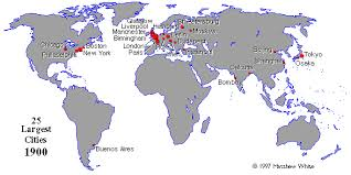 world cities on map map largest cities in 1900