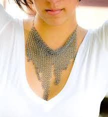 steel collar necklace images Avant garde hand cut skyline stainless steel chainmaille bib jpg