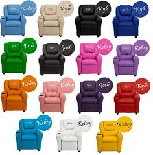 Recliner Chair For Child Personalized Recliner Arm Chairs Embroidered Chairs