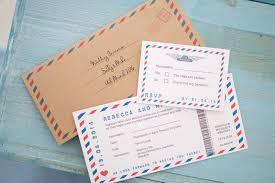 Wedding Invitations Glasgow Red U0026 Blue Airmail Travel Ticket Wedding Invitation Vintage