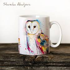 owl mug barn owl watercolor coffee mug kanelov