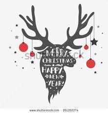 christmas deer christmas deer merry christmas happy new stock vector 351202274