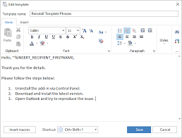 reply with template in outlook 2016 2013 2007 template phrases