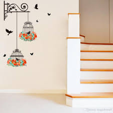 fake metal scroll birdcage flying birds wall stickers hallway fake metal scroll birdcage flying birds wall stickers hallway decoration wallpaper poster diy home decor wall graphic poster removable art decal art for