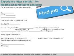 Medical Administrative Assistant Sample Resume by Medical Administrative Assistant Experience Letter