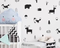 Wall Nursery Decals Nordic Style Forest Animal Wall Decals Woodland Tree Nursery