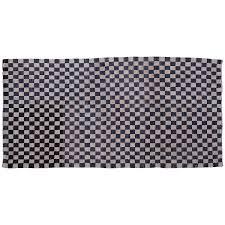 Black White Checkered Rug Antique Chequerboard Scatter Rug Tibetan Khaden Modernist Checker