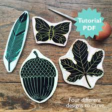 rubber carving tutorial with four different stamp designs a