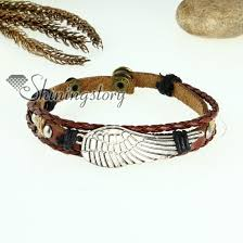 charm bracelet leather images Angel wing charm genuine leather wrap bracelets wholesale jpg