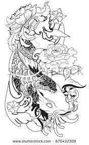 tattoo armblack white koi fish vectorhand stock vector 670432309