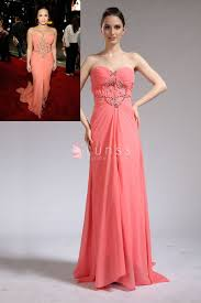 beaded strapless sweetheart pink chiffon demi lovato long