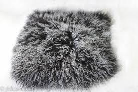 Mongolian Lamb Cushion Lambskin Lamb Cushion Pillow 12 X 12 Inch Black Mongolian Lambskin