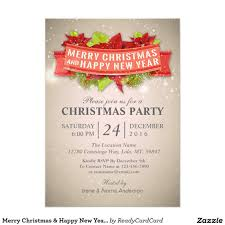 merry christmas u0026 happy new year party invitation zazzle