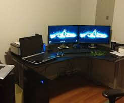 Pc Built Into A Desk Pc Gaming Desk Setup Gaming Room Computer Setups Gaming Setup