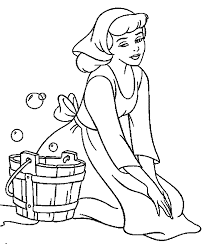 cinderella will wash clothes coloring pages for kids cgu
