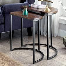 furniture of america bornell industrial style half moon nesting