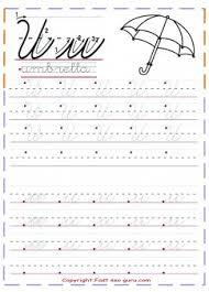 cursive handwriting tracing worksheets letter u for umbrella