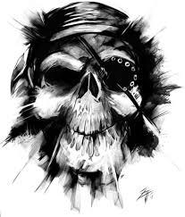 classic black ink pirate skull tattoo design