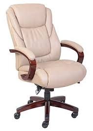 LaZBoy 45835 Miramar Executive Bonded Leather Office Chair Taupe
