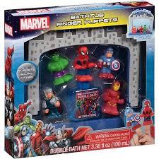 Marvel Bathroom Set 7pc Marvel Avengers Bathtub Finger Puppets Bath Gift Set For
