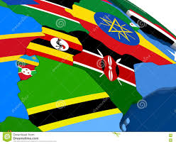 Flag Of Kenya Kenya Uganda Rwanda And Burundi On 3d Map With Flags Stock