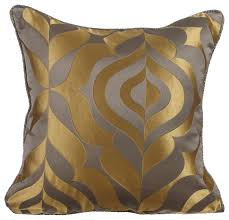 damask 16 x16 jacquard gold pillows cover grey gold luxury