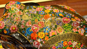floral elephant paper mache sculpture hand painted kashmir fine
