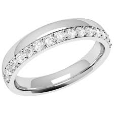 offset diamond set wedding ring in 18ct white gold