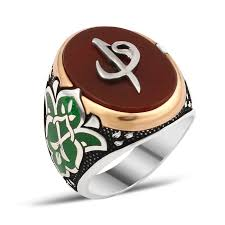 men ring design exclusive design silver men ring with aqeeq alif vaw ottoman
